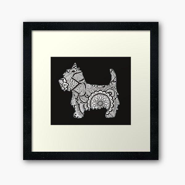 Westie black and white zentangle Framed Art Print