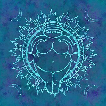 Venus of Willendorf Blue Mandala by saraadrian