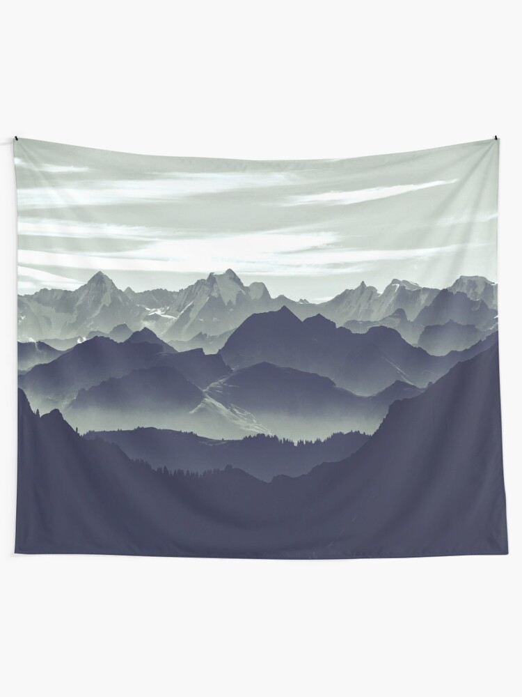 Alternate view of Mountains are calling for us Tapestry
