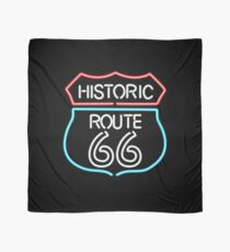 Historic Route 66 Vintage Retro Style Neon Sign Scarf