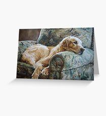 Golden Retriever in Chair Greeting Card