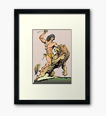 Tarzan and Lion Framed Print