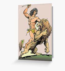 Tarzan and Lion Greeting Card
