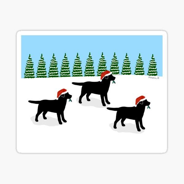 Black Labrador Trio Christmas Snow Field Sticker
