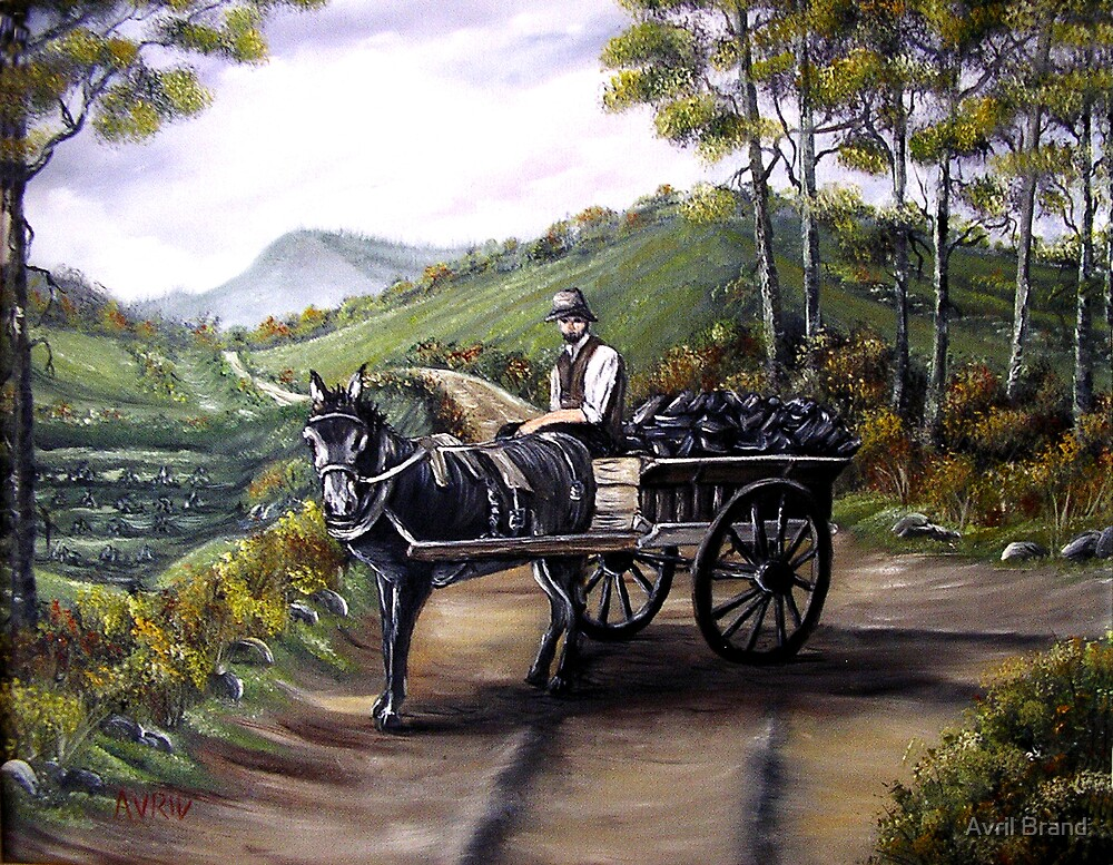 Bringing home the peat in Ireland - Oil Paintings by Avril Brand