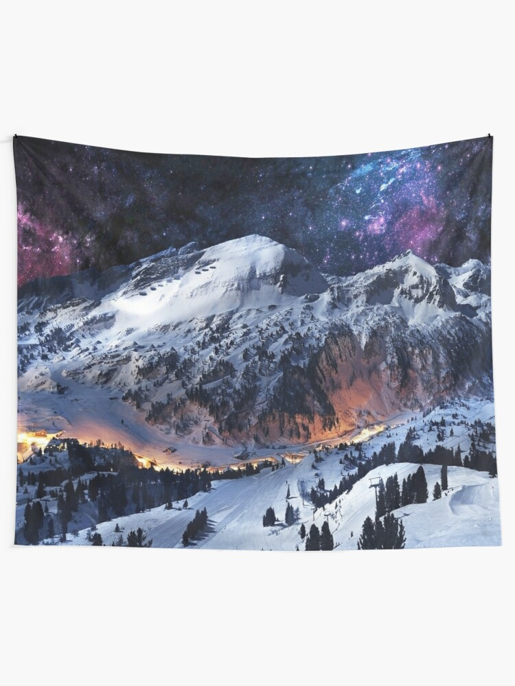 Alternate view of Mountain Calm in space view Tapestry