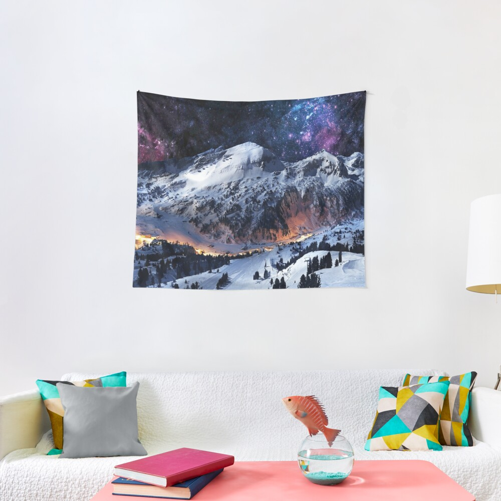 Mountain Calm in space view Tapestry