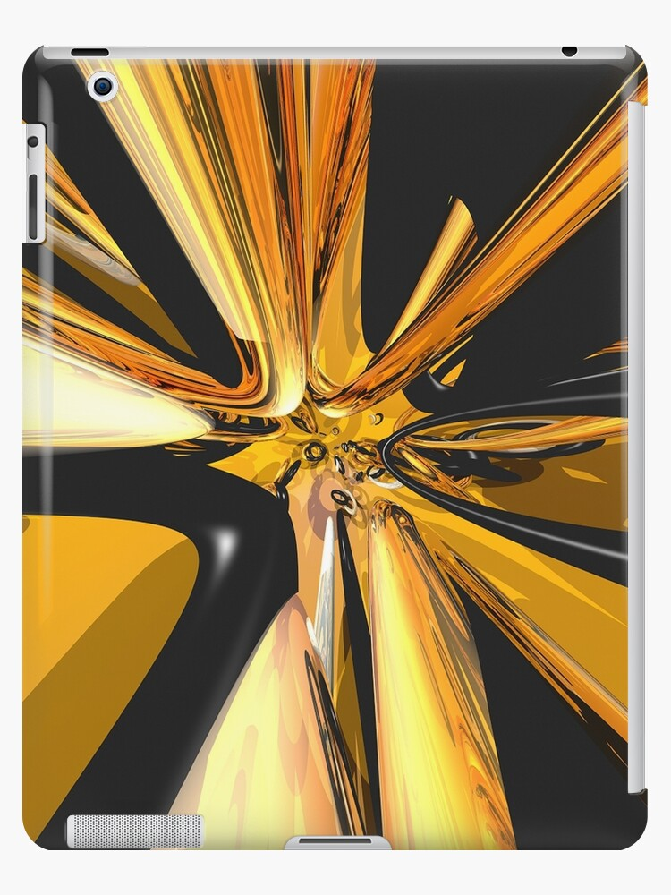 Black And Gold 3D Abstract by Phil Perkins