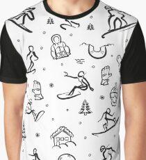 Snowboarding Freestyle Doodle Set Graphic T-Shirt