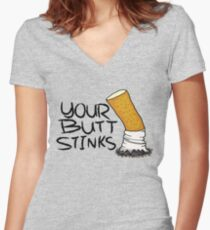Your butt stinks Women's Fitted V-Neck T-Shirt