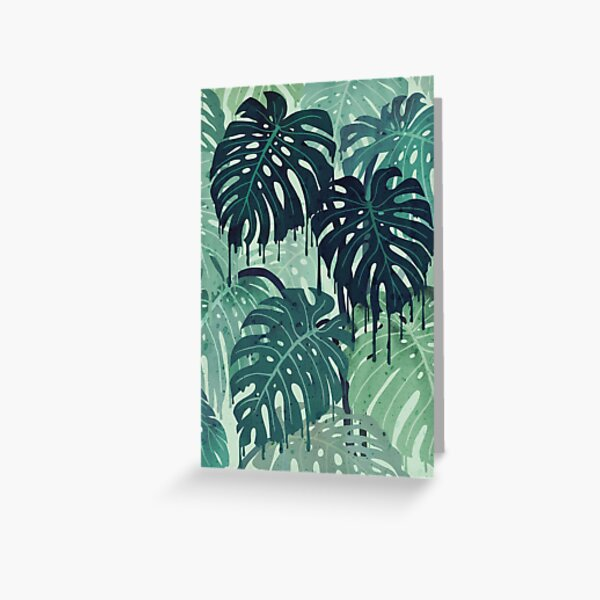 Monstera Melt (in Green) Greeting Card