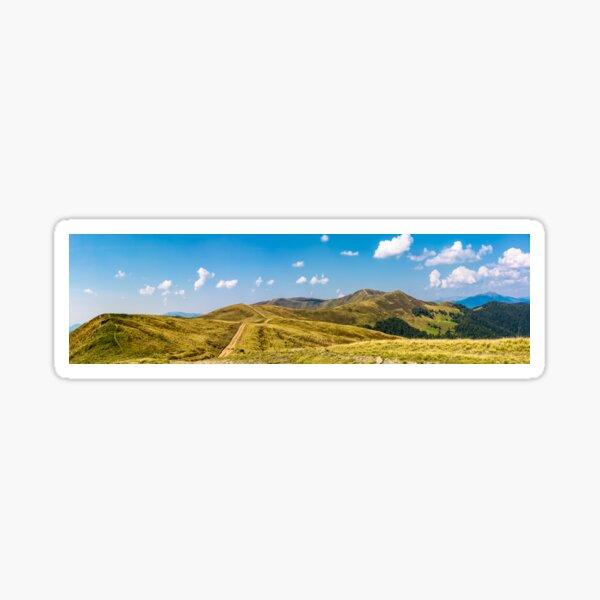 footpath through rolling hills of mountain ridge Sticker