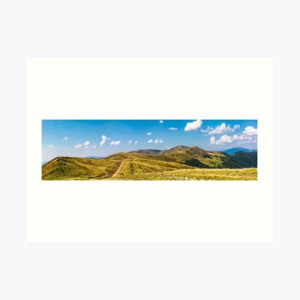 footpath through rolling hills of mountain ridge Art Print