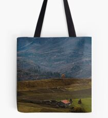 rural area in snowy alpine mountains Tote Bag