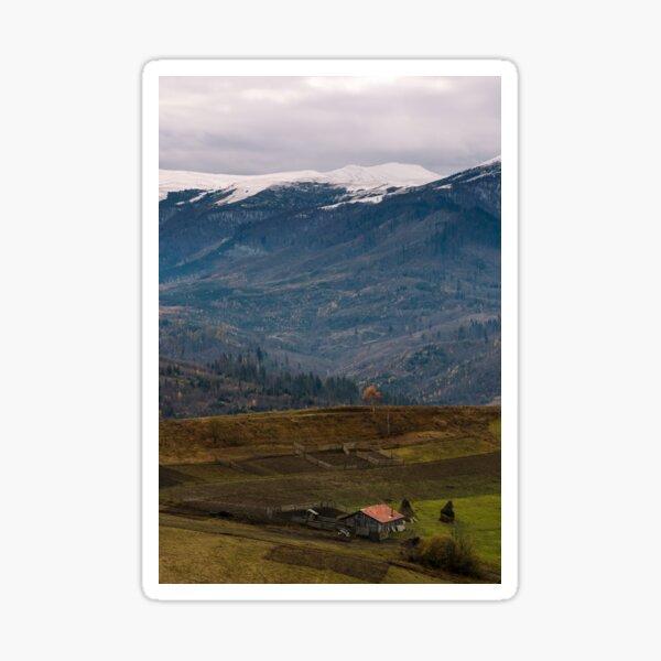 rural area in snowy alpine mountains Sticker