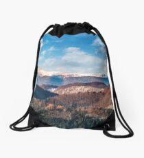 panorama of mountain ridge with snowy top Drawstring Bag