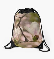 two magnolia flowers in the backyard Drawstring Bag