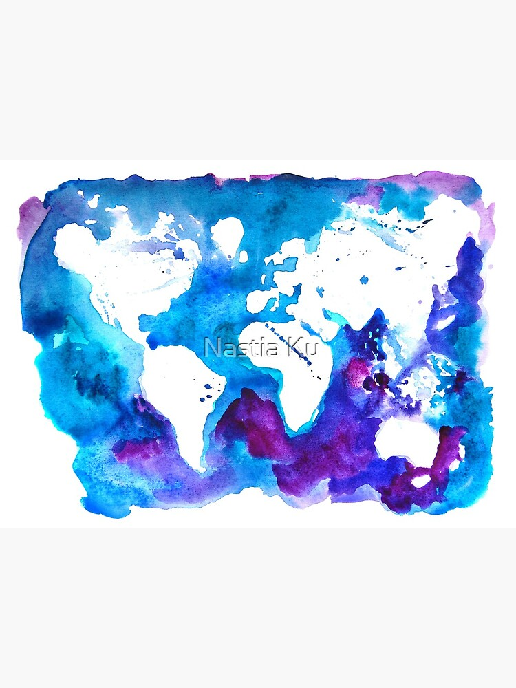 Watercolor Map of the World | Metal Print