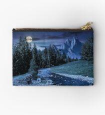 fairy tale mountainous summer landscape at night Studio Pouch