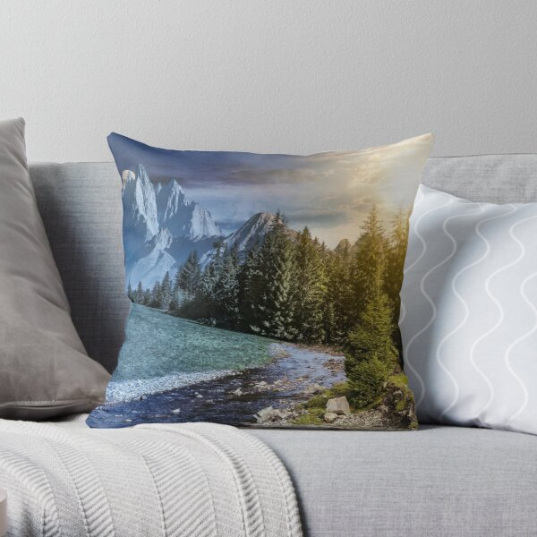 time change in mountainous summer landscape Throw Pillow