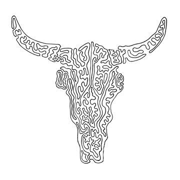 Psychedelic Bull Skull by Vaelz