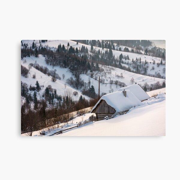 woodshed on hillside in deep snow Metal Print