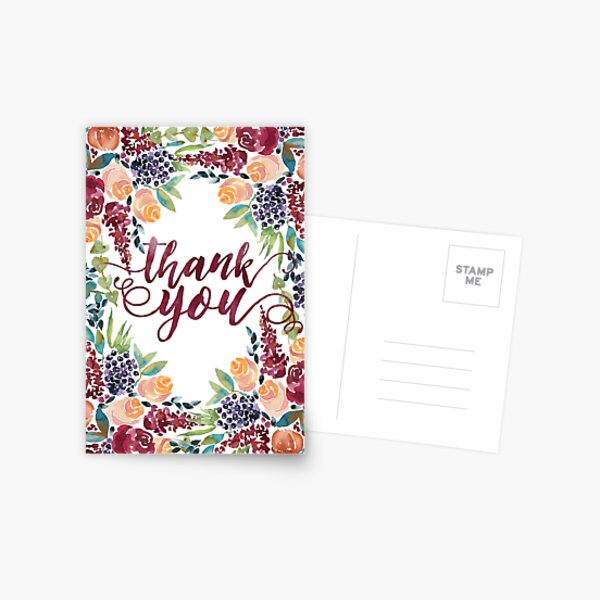 Watercolor Bouquet Hand-Painted Roses Celosia Bilberries Leaves Postcard