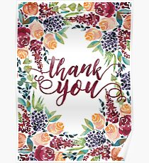 Watercolor Bouquet Hand-Painted Roses Celosia Bilberries Leaves Poster