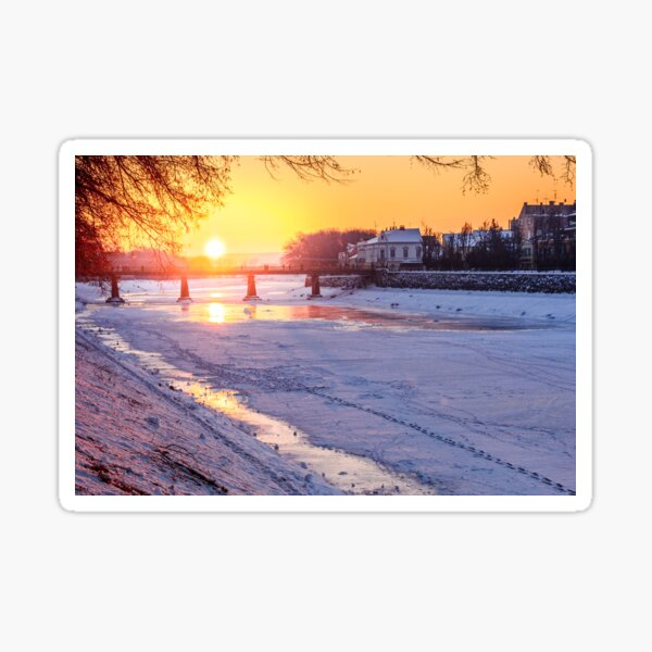 winter sunrise on the bank of ice covered river Uz Sticker