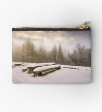 abandoned camping place in winter forest Studio Pouch
