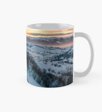 winter dawn in mountainous countryside Mug