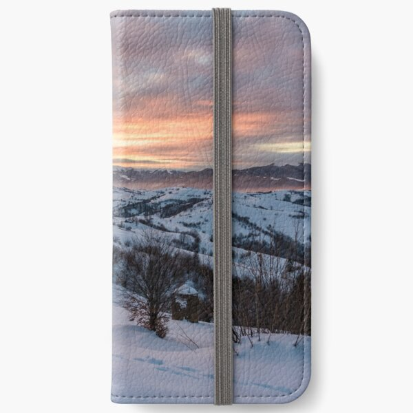 winter dawn in mountainous countryside iPhone Wallet