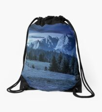 spruce trees on hillside in mountains at night Drawstring Bag