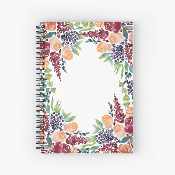 Watercolor Bouquet Hand-Painted Roses Celosia Bilberries Leaves Spiral Notebook