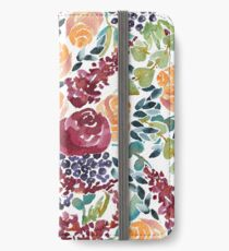 Watercolor Bouquet Hand-Painted Roses Celosia Bilberries Leaves iPhone Wallet/Case/Skin
