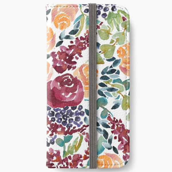 Watercolor Bouquet Hand-Painted Roses Celosia Bilberries Leaves iPhone Wallet
