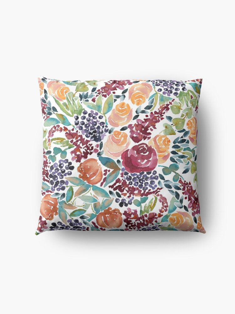Alternate view of Watercolor Bouquet Hand-Painted Roses Celosia Bilberries Leaves Floor Pillow