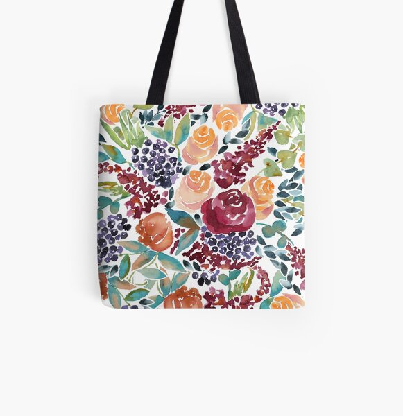 Watercolor Bouquet Hand-Painted Roses Celosia Bilberries Leaves All Over Print Tote Bag