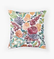 Watercolor Bouquet Hand-Painted Roses Celosia Bilberries Leaves Throw Pillow