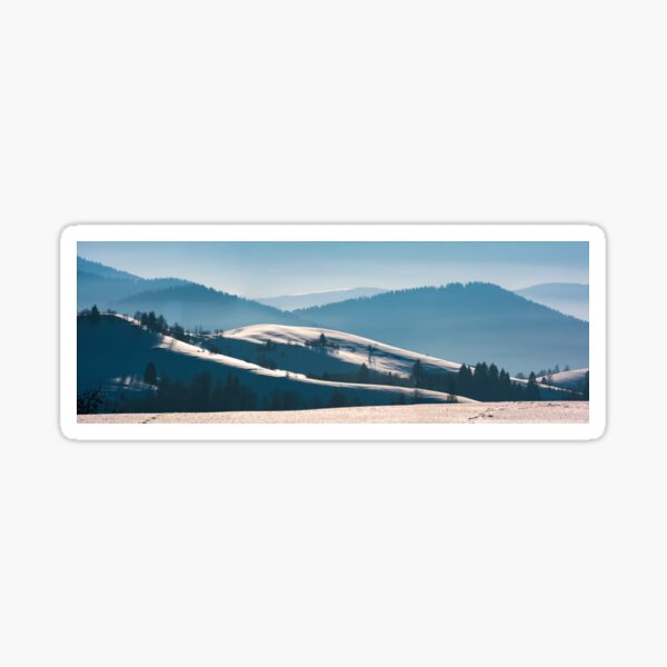 gorgeous winter panorama of rolling hills Sticker