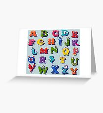 Halloween funny alphabet for children Greeting Card