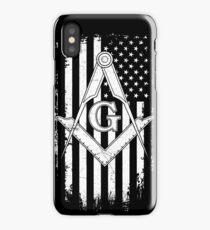 Masonic American Flag Square and Compass - Freemason  iPhone Case