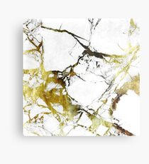 Gold-White Marble Impress Metal Print