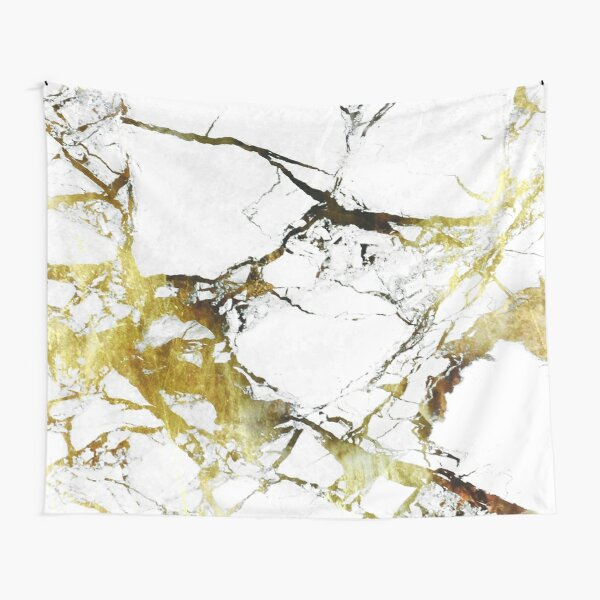 Gold-White Marble Impress Tapestry