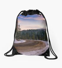 gorgeous dusk over serpentine in winter mountains Drawstring Bag