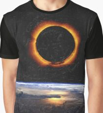Solar Eclipse from above the earth painting Graphic T-Shirt