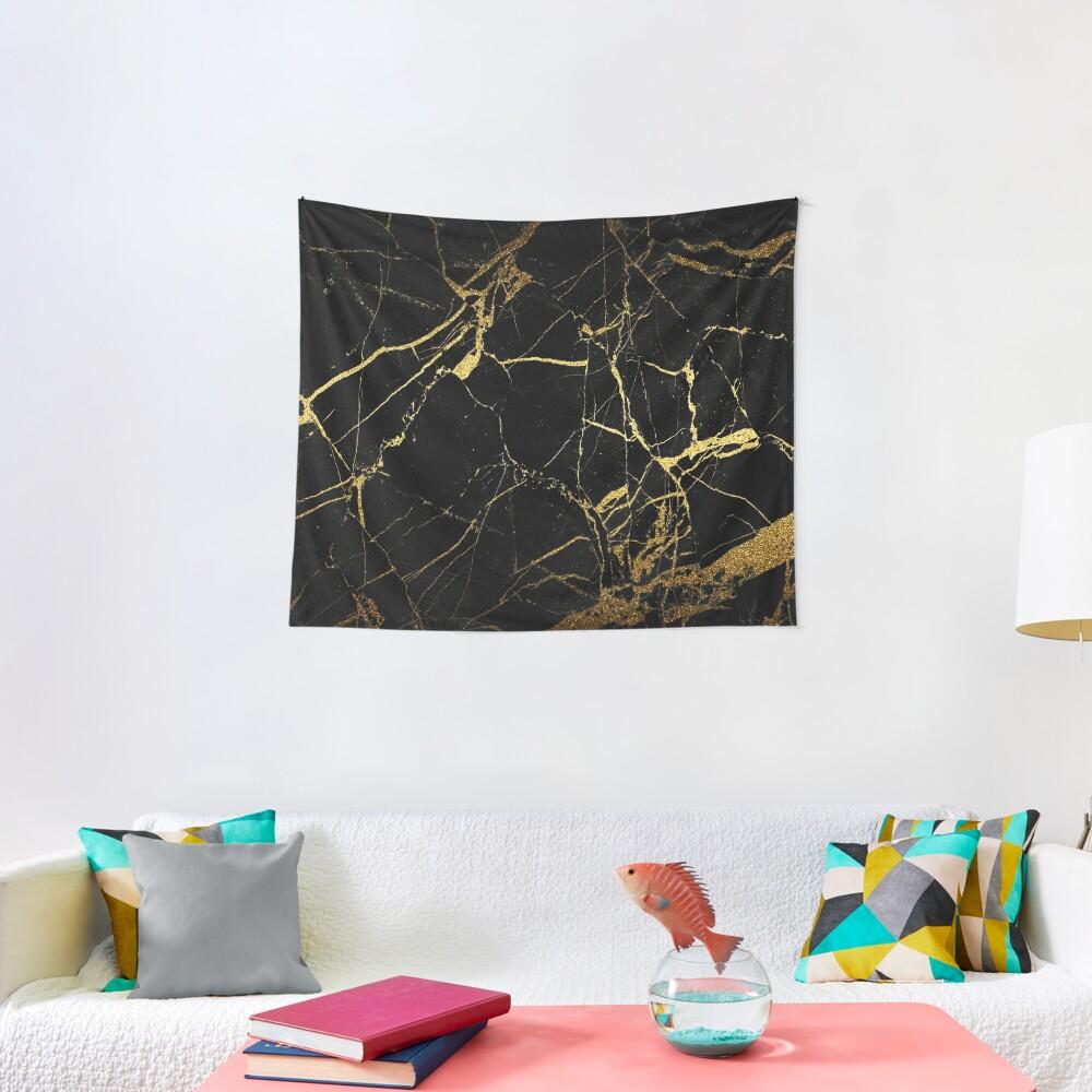 Black-Gold Marble Impress Tapestry