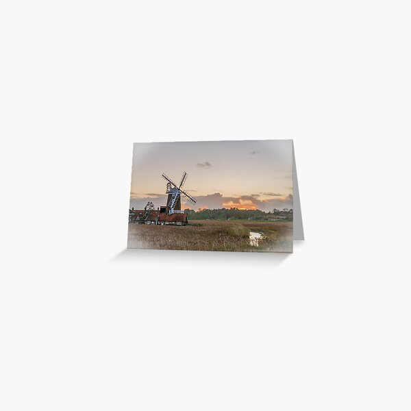 Cley Windmill Sunset Greeting Card