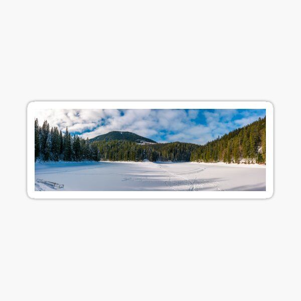 panorama of Synevyr lake in winter Sticker