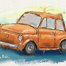 Classic Iconic Orange Fiat 500 Loose Painting by ibadishi